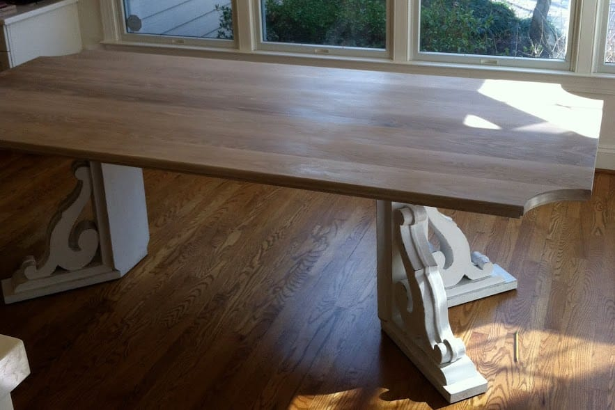 Limed White Oak Kitchen Table Top