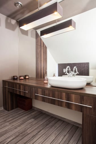 Modern Wood Vanity Top in Bathroom